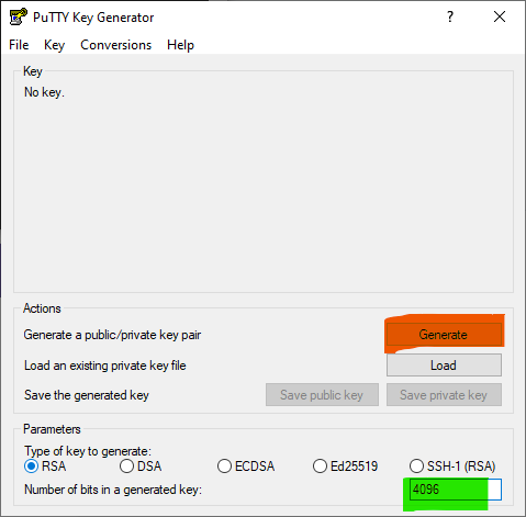 Screenshot of PuTTYgen.  The Generate button is highlighted in orange the number of bits in a generated key has been changed to 4096 and highlighted in green.