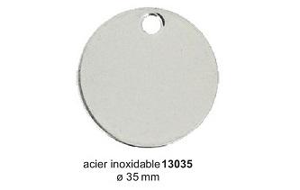 Médaille ronde en acier inoxydable diam. 35mm réf 13035