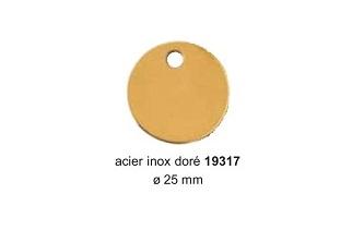 Médaille ronde en laiton doré diam. 22mm réf 19317