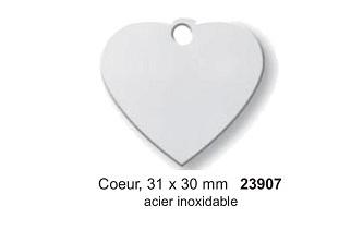 Médaille coeur en acier inoxydable  31x30mm réf 23907