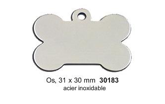 Médaille os en acier inoxydable  31x30mm réf 30183
