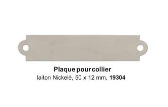 Plaque pour collier laiton nickelé 50x12mm réf 19304
