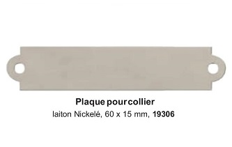 Plaque pour collier laiton nickelé 60x15mm réf 19306