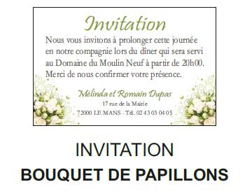 Invitation bouquet de papillons