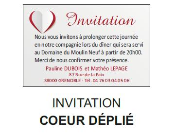 Invitation coeur déplié