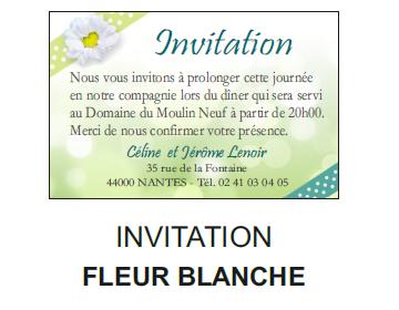 Invitation fleur blanche