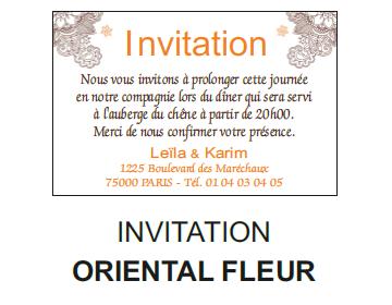Invitation oriental fleur