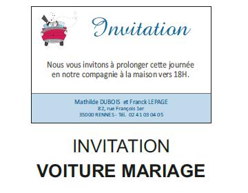 Invitation voiture mariage