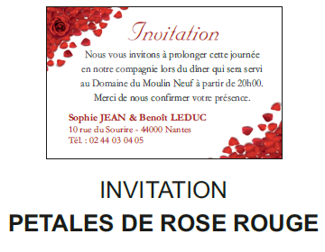 Invitation pétales de rose rouge