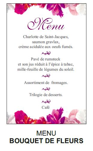 Menu bouquet de fleurs