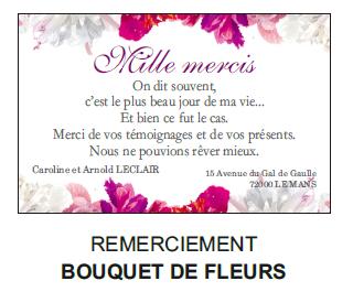 Remerciement bouquet de fleurs
