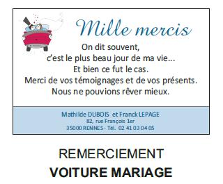Remerciement voiture mariage