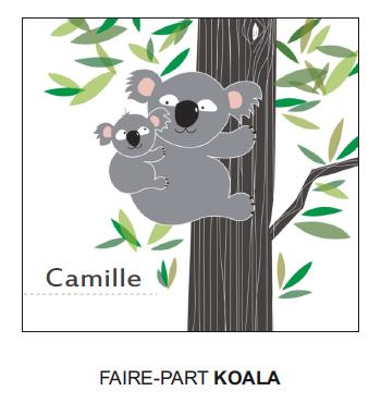 Faire part naissance koala